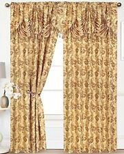 2 EDEN CURTAIN PANELS WITH ATTACHED AUSTRIAN VALANCE 84 inches long window