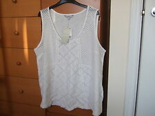 LADIES NEXT WHITE LACE VEST TOP - SIZE 22 - BNWT