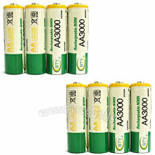 8 pcs AA 3000mAh Ni-Mh 1.2V rechargeable battery Cell for MP3 RC BTY US Stock