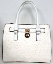 NEW White Ostrich Embossed Vegan Leather Gold lock Handbag tote purse Satchel