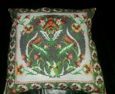 medieval tudor style hand embroidered flower cushion floral cross stitch
