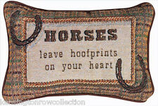 "DECORATIVE PILLOWS - ""HORSES LEAVE HOOFPRINTS ON YOUR HEART"" PILLOW - HORSE"