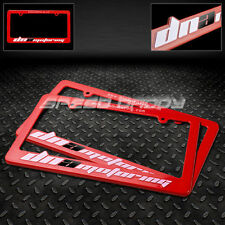 2 X DNA MOTORING US/CANADA FRONT+REAR ENGRAVED LICENSE PLATE FRAME/RACK JDM RED