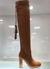 LADIES WOMENS OVER KNEE CAMEL/BROWN SUEDE FAUX HIGH HEEL BOOTS SHOES SIZE 3