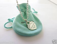 "Return To Tiffany & Co. Silver Blue Enamel Lettering Heart 18"" Beaded Necklace"