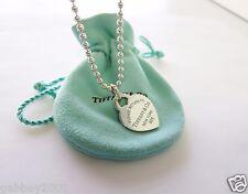 "Return To Tiffany & Co. Silver Blue Enamel Lettering Heart 18"" Beaded Necklace"