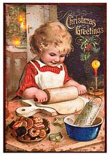 New Vintage Girl Cookie Baking CHRISTMAS GREETINGS Lighted Picture Wall Hanging