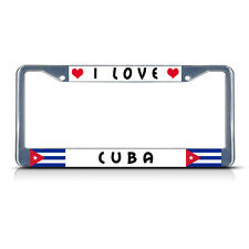 I LOVE CUBA Metal License Plate Frame Tag Border Two Holes