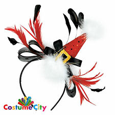 Adult Red Christmas Hat Feather Headband Fancy Dress Costume Accessory