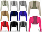 LADIES LONG SLEEVE PLAIN BOLERO SHRUG CROPPED VISCOSE JERSEY TOP WOMEN UK 8 - 22