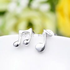Free Gift Bag Silver Plated Music Note Stud Earrings Ladies Jewellery Xmas