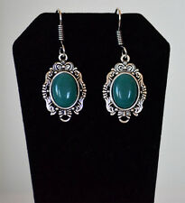 Silver Metal Green Stone Hook Dangle Earring Fashion Jewelry from India