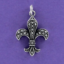 Fleur De Lis Charm Sterling Silver for Bracelet 925 Textured Saints New Orleans