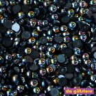 Lot Fantasy Black AB Flat Back Pearl Stone Scrapbook Nail Art Craft #DA101