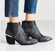 NEW In Box 7 Jeffrey Campbell Rawlins Black Distressed Silver Leather Boot $195