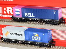 Rivarossi H0 HR6134 Container-Tragwagen Set Sgmms 738 der DB Neu in OVP