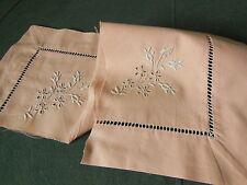 Haut de taie d'oreiller ancienne pour création couture petite rose broderie