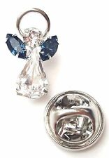 Swarovski Crystal Elements Birthstone Guardian Angel Pin December Blue Zircon