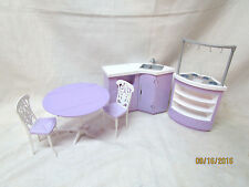 BARBIE MATTEL FURNITURE PLAY DINING ROOM KITCHEN TABLE CHAIR SET 1996