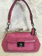 COACH leather and suede framed KISSLOCK gallery RARE Mini Purse 9734
