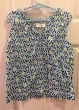 Hanna Andersson Girls 120 6 6x 7 Sleeveless Blue Floral Top Shirt Ruffle Tulips