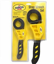PENNZOIL 2 Piece Strap Wrench Clench Grip Jar Opener Pipe Wrench Oil filter jar