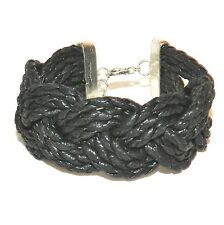 "BR495f Black Woven Cotton 25mm w Silver Lobster Clasp Bracelet 7.5"" w Extender"
