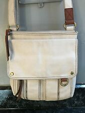 EUC winter white (cream) leather FOSSIL cross body bag purse
