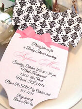 Damask Baby Shower Invitation For Girl - Elegant Bow Sash! Bow Color Can Change!
