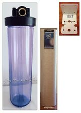 "Big Fat 20"" Clear Whole House Water Filter System (1""Port) +Bracket + Filter"