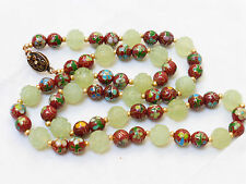 CHINESE ANTIQUE/VINTAGE CLOISONNE CARVED SHU JADE BEADED NECKLACE, SILVER CLASP
