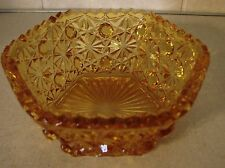 AMBER JEANETTE GLASS BUTTON & BOWS CANDY DISH / BERRY BOWL 5""