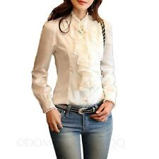 womens Career Winter blouse Victorian Button shirt prom Work Party Top Size