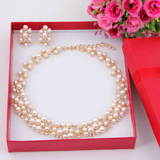 Imitation Pearl Gold Plated Simple Elegant Bridal Jewelry Sets Kit Gift GH