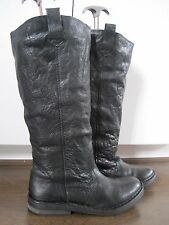 Women's TOPSHOP black leather knee length flat riding style boots size 5 (38)