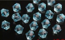 200pcs Aqua Blue Faceted Crystal Glass Loose 5301# Bicone Spacer Beads 4mm