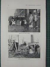 1915 WWI WW1 PRINT ~ RELIEF RATIONS AT BRUGES ~ REMAINS OF PEASANTS HOME