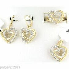 Gold over Brass Diamond 0.25 CTTW Sz 7 3-Piece Heart Set