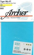 Archer German Tiger Mix #1 Tank 1/72nd Scale Transfers Decals AR74004