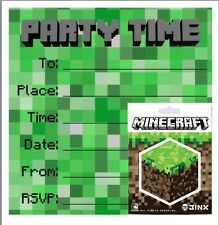 Party / Birthday Invites / Invitations with Official Minecraft Sticker! 5 Pack.