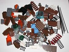 LEGO LARGE LOT OF BROWN SPECIALTY BRICKS STAIRS CASTLE WALL KNIGHTS DOOR ECT LBS