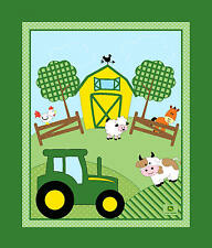 "35"" JOHN DEERE TRACTOR BARNYARD NURSERY PANEL SPRING CREATIVE 100% COTTON FABRIC"