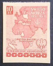 POLAND STAMPS  - Day of the sea - colonies, 1943, clean