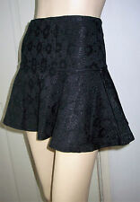 GEORGIA Black Floral Embroidered Short Full Flare Party Skirt Size S BNWT    C51