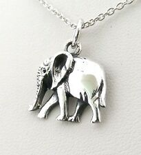 Funky 925 Sterling Silver Smaller Elephant Pendant with 16 inch silver Necklace