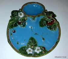 Antique C1867 Minton Majolica Strawberry Dessert Plate with Cream Well