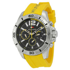 Tommy Hilfiger Multi-Function Dark Grey Dial Yellow Silicone Mens Watch 1791144