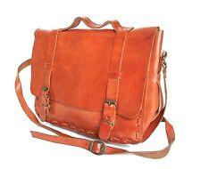 Vintage Cartable en cuir marron tan sac-Années 70-Large