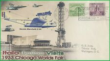 Italian Air Marshall Italo Balbo Visits 1933 Century Of Progress Worlds Fair FDC