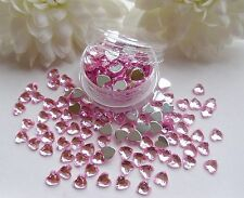 3D Nail Art 'Pale Pink' 4mm Rhinestone Hearts Pot Flat Back app 100pcs Gems Tip